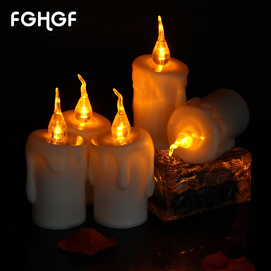 Yellow Flicking Battery LED Tear Candle Light Electronic Pillar Candles Holder For Romantic Weddings Home Party Decor