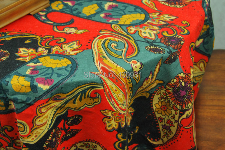 100*145cm Paisley Print Fabric Linen Cotton Indian Ethnic Tablecloth  Curtains Garments Material Tecido Telas Red In Fabric From Home U0026 Garden On  ...