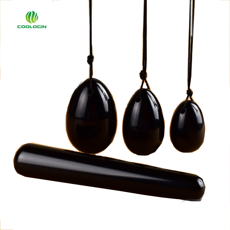 Natural Black Obsidian Eggs Crystal Yoni Egg for Women Health Care Kegel Exercise Massager toys With Massag Stick(4pcs/set)