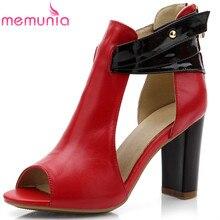Memunia/Новая пикантная обувь из натуральной кожи с открытым носком женские сандалии на высоком каблуке модная летняя обувь женские свадебные туфли