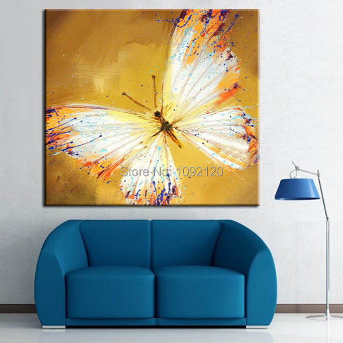 Handmade Beautiful Yellow Butterfly Canvas Oil Painting Wall Decorative Art  Home Decorations For The Living Room