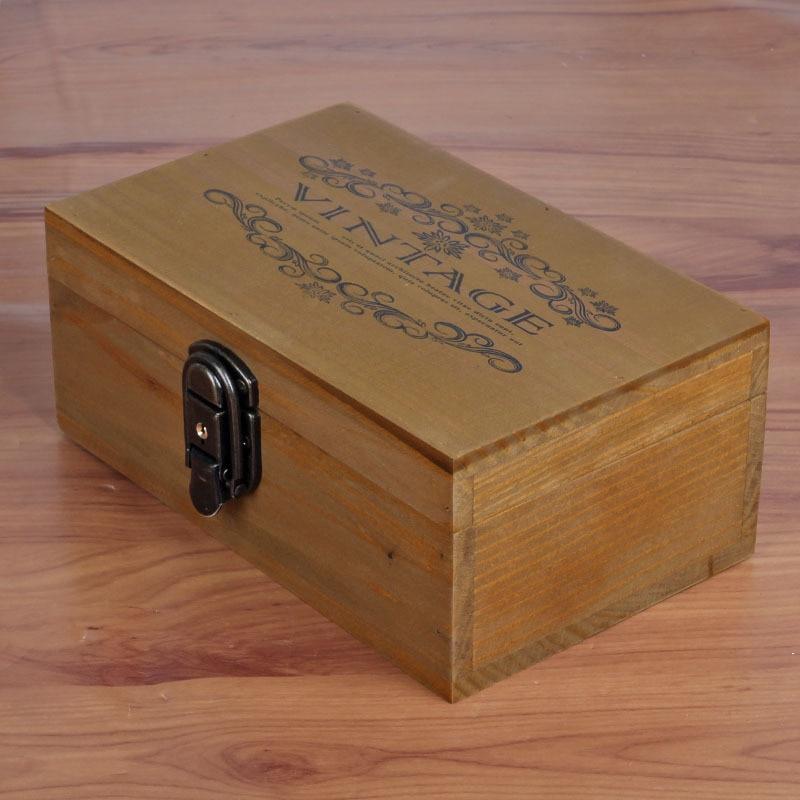 Vintage Jewelry Storage Box Metal Lock Wooden Cosmetic Box Storage