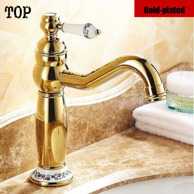 ФОТО Vintage glod tap basin faucet with porcelain antique brass bathroom faucet water sink mixer tap 2014 new version top faucet