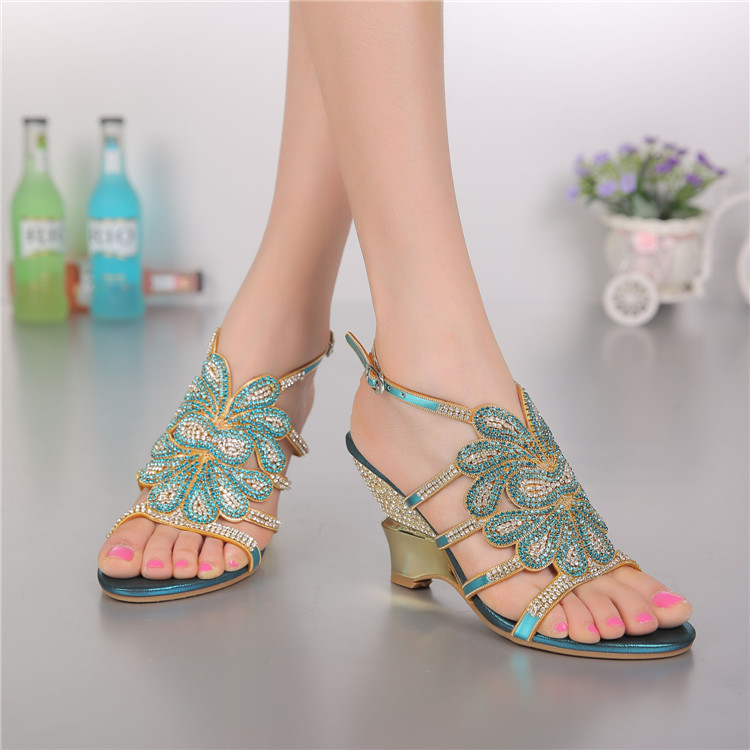 2017 Summer Crystal Rhinestone Wedding Shoes Size 11 High Heels Fashion Female Roman Bohemian Blue Wedge Sandals Good Quality