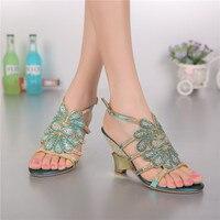 2017 del Verano de Cristal Zapatos de Boda Rhinestone Tamaño 11 Tacones Altos Moda Mujer Romana Sandalias de Cuña de Bohemia Azul de Buena Calidad