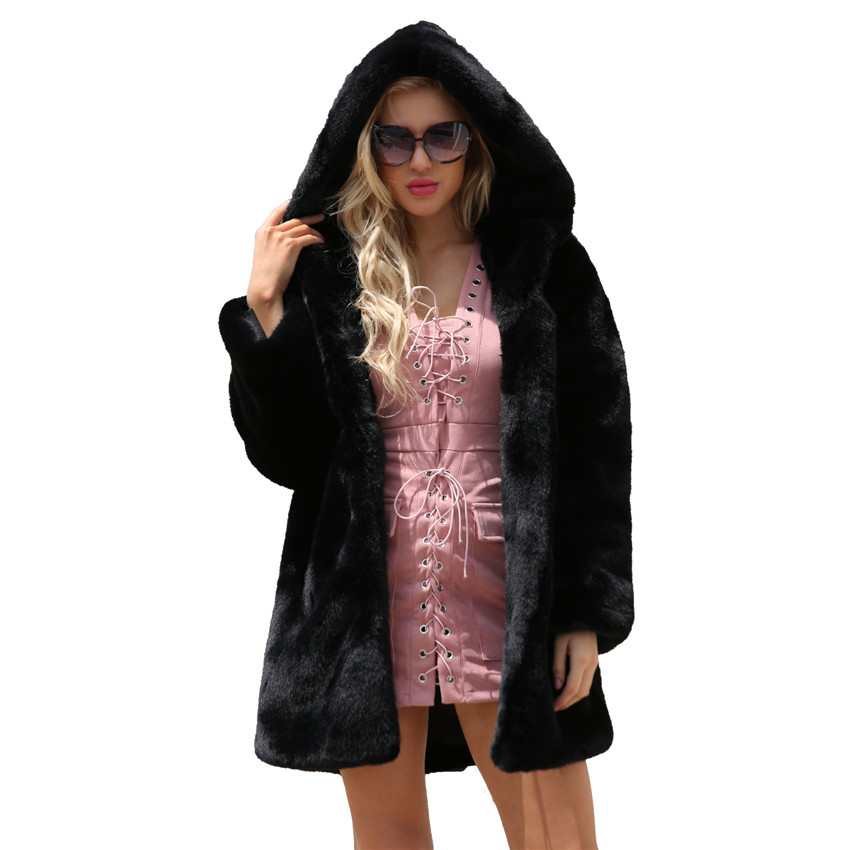 Lanshifei New Design Fall Female Imitation Fur Long Parka Ladies' Winter Faux Fur Coat Warm Black Fur Jacket With Hood For Women