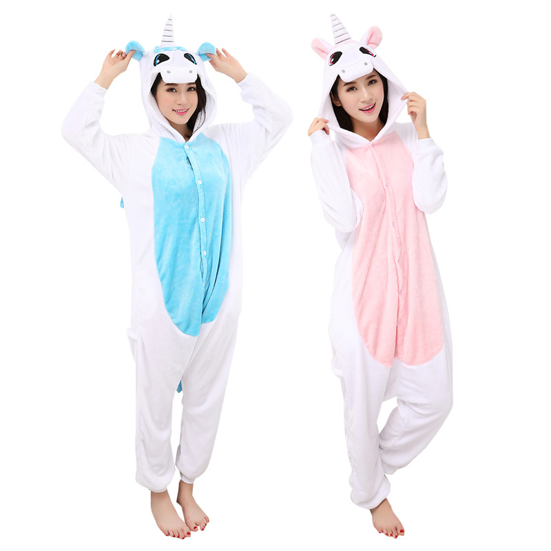 Autumn and winter flannel cartoon Siamese pajamas animal Unicorn pajamas home service suit wholesale