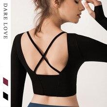 Топы женские с подкладом для груди осенняя и зимняя спортивная одежда для фитнеса топы для бега быстросохнущая футболка для йоги с длинными рукавами