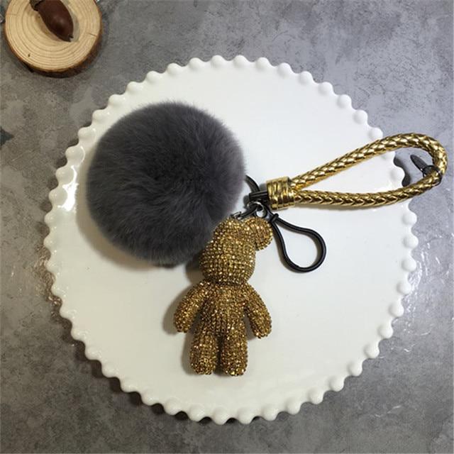 Rhinestone Teddy Bear Keychain Puffs Pompom Fur Ball Sparkly Keyring Cute Car Keys Ring Plush Lanyards Rope