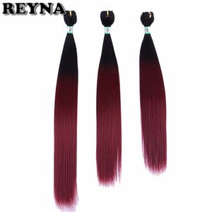 Kinky Straight Synthetic Hair bundles High Temperature Fiber Weave Ombre Hair Bundles 16