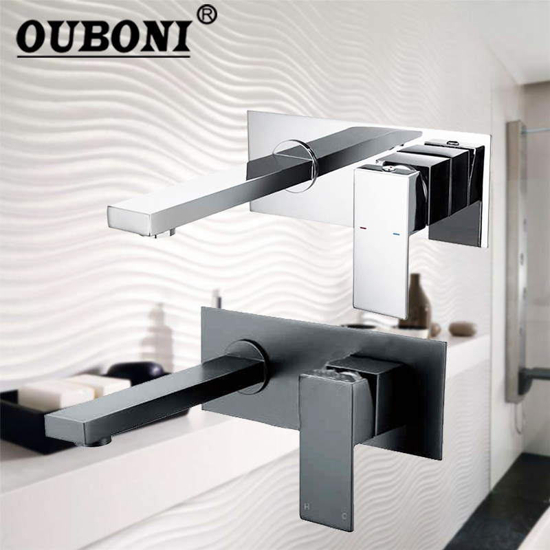 Black Wall Mounted Bathroom Sink Basin Mixer Tap Chrome Polish  Soild Brass Bathtub Torneira Tap Mixer Faucet bakala free shipping bathroom basin sink faucet wall mounted square chrome brass mixer tap with embedded box lt 320r