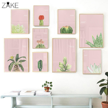 Watercolor Cactus Succulent Poster Kinderkamer Wall Art Prints Pink Canvas Painting Picture for Girls Bedroom Decor