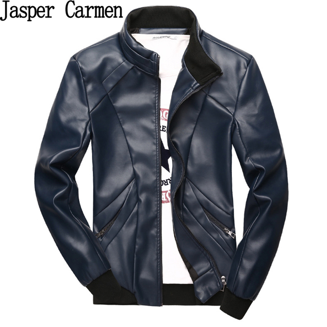 2017 autumn and winters men's thicken the PU leather jackets Fashion stand collar motorcycle leather jackets 65hfx