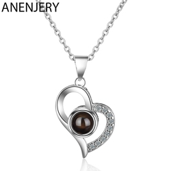 ANENJERY 925 Sterling Silver Trendy Zircon Love Heart Necklace Projection Meaningful Necklaces For Women S-N399