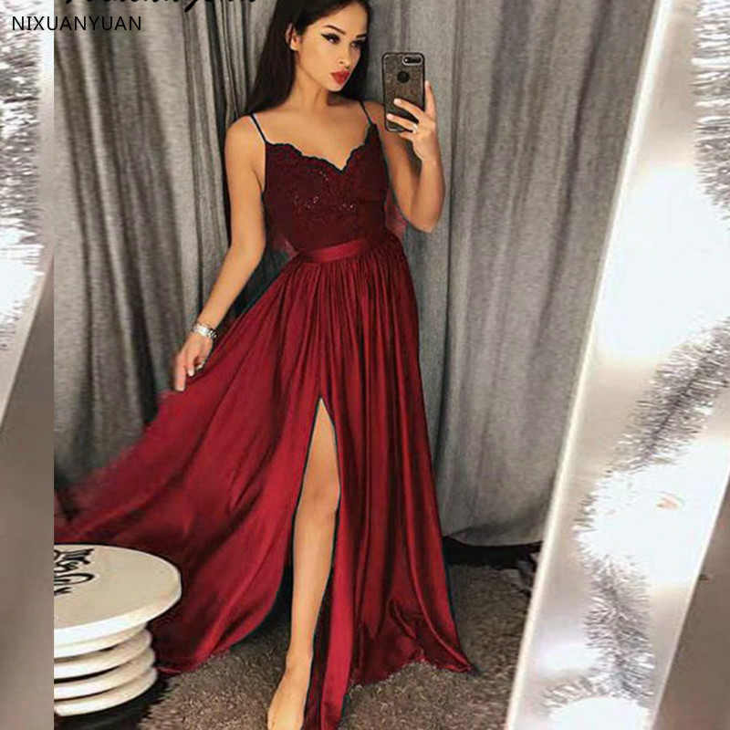 Sexy Slit   Prom     Dresses   2019 Spaghetti Straps Long Party Gown Vestidos De Graduacion Lace Bodice Burgundy   Prom     Dress