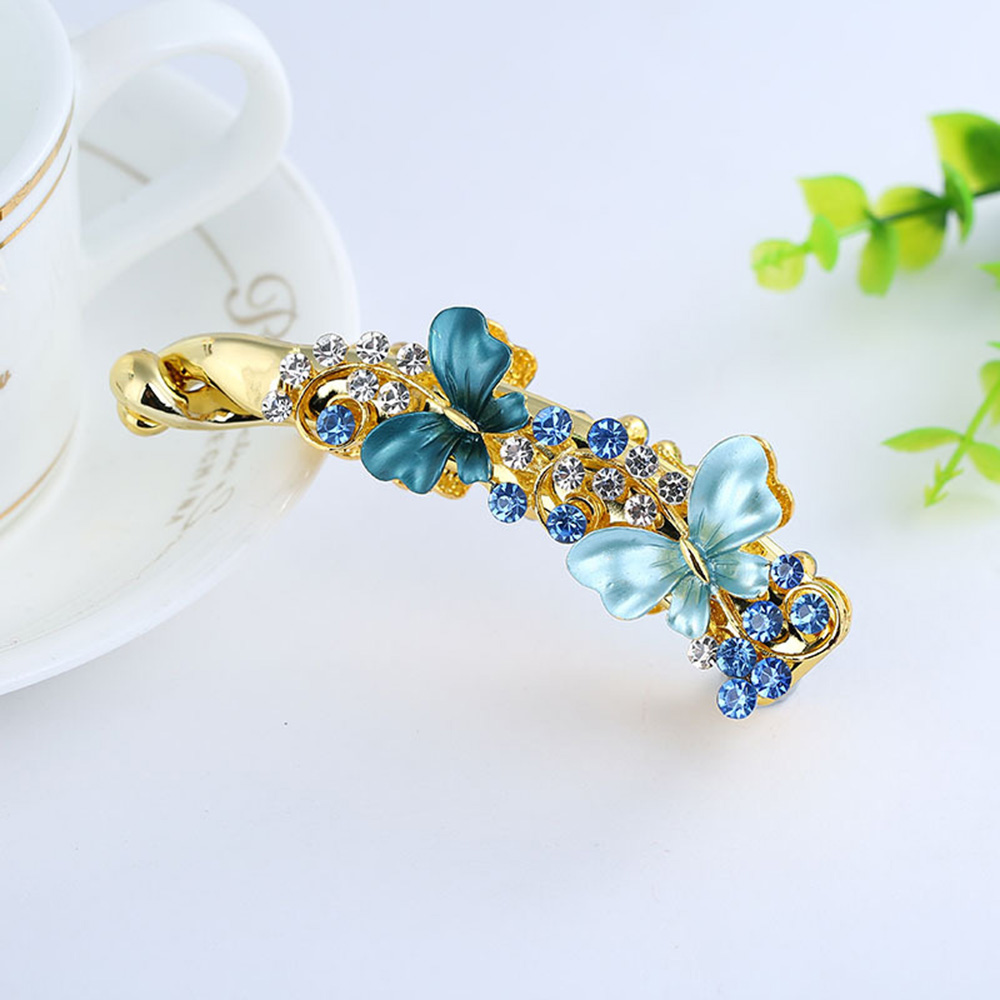 Girl Lady Elegant Butterfly Alloy Banana Hairpin Claw Ponytail Holder Hair Clip Hair Accessories