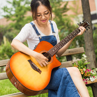 Glisten sunburst solid acoustic electric guitar with fishman pickup