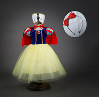 Fashion Dress + Cape + Headband Gift for Children Halloween Carnival Birthday Party Snow White Fancy Costume