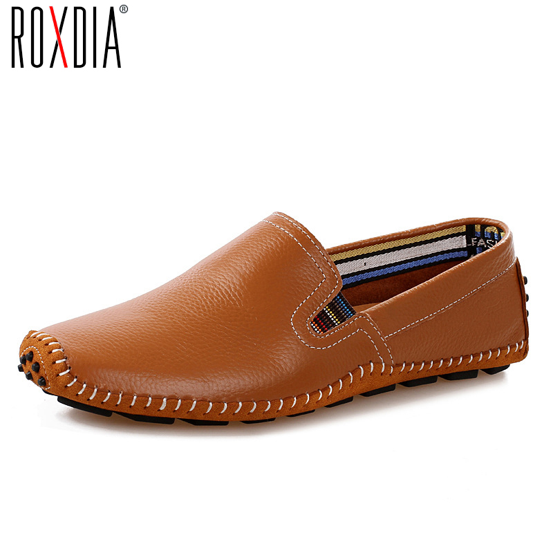 ROXDIA New Fashion Genuine Leather Men Loafers Spring Autumn Causal Shoes Men's Driving Shoes Man Flats Plus Size 39-47 RXM030 цены онлайн
