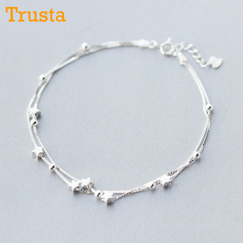 Trusta 2018 100% 925 Sterling Silver Fashion Women's Jewelry Double-deck Beads Star 21cm Anklets For Gift Girls Lady DS21