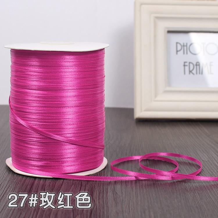 3 мм ширина бордовые атласные ленты 22 метра швейная ткань подарочная упаковка «сделай сам» ленты для свадебного украшения - Цвет: Rose Red