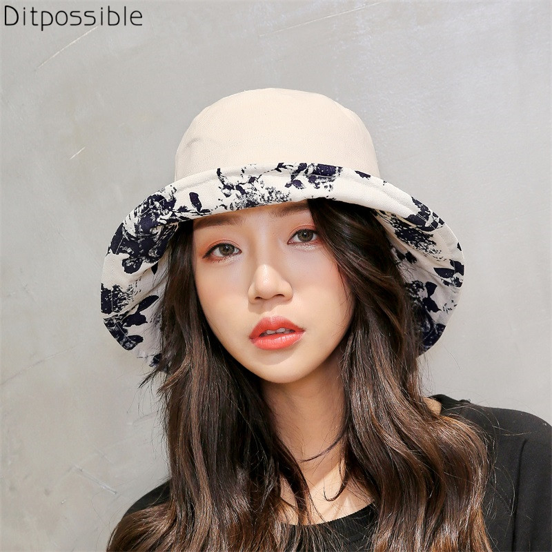 87378260ce0 Ditpossible 2018 new summer hat women fashion print bucket hats foldable  gorro fishing hat female caps
