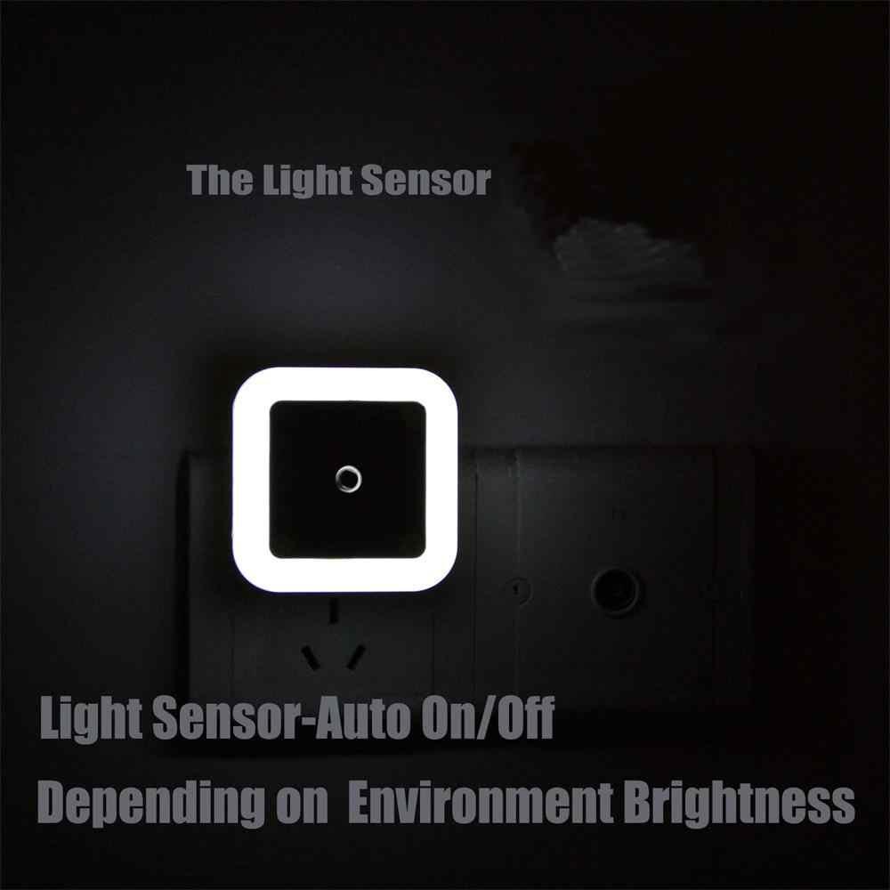 Light Sensor ควบคุม Night Light Mini EU US Plug สแควร์ wc ห้องน้ำโคมไฟห้องนอนสำหรับของขวัญเด็กโรแมนติกที่มีสีสันไฟ