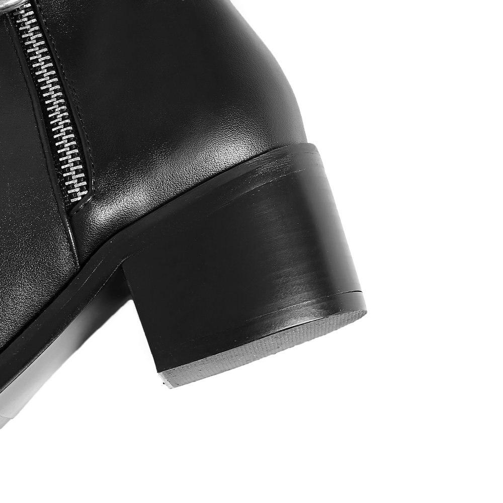 Qualité Haute Cuir Sur Femmes Épais Bottes Martin Noir Bout Hauts Aiweiyi En marron Véritable Talons Pour Genou Rond Le Talon q5t7d7n