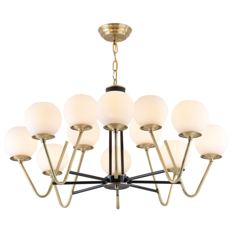 Американский стиль фойе столовой люстры реального латунь magic bean 9/12 глава стекла droplight светодио дный E27 лампы осветительное оборудование