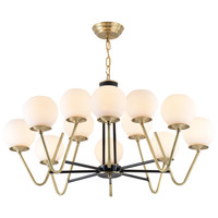 American style Foyer dining room Chandeliers Real brass magic bean 9/12 head glass droplight LED E27 bulb Lighting fixture