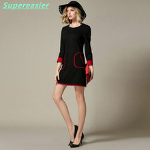 Sexy Black OL Ladies Work Office Mini Dress O-Neck Long Sleeve Packet 2016 Women Autumn Party Club A-Line Dresses Plus Size
