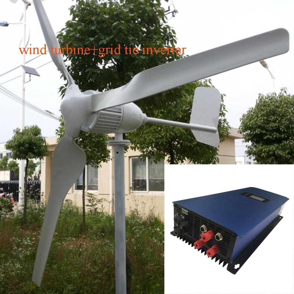 MAYLAR@ 1000W 24V Wind Turbine Dolphin+1000W 22-60VDC Wind Grid Tie Inverter wind grid tied inverter 1000w 3 phase grid tie inverter wind turbine 1kw with lcd display