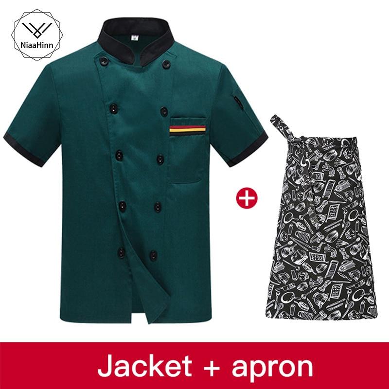 Food Service Men Clothes Chef Jacket Uniform Short-sleeved Hotel Restaurant Chef Clothing Kitchen Uniform+beauty Apron Chef Coat