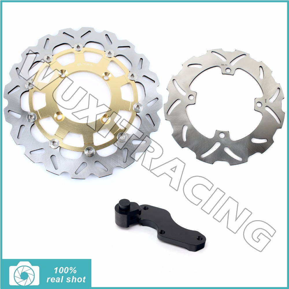 Oversize 320MM Front Rear Brake Disc Rotor Bracket Adaptor for KAWASAKI KX125 KX250 06-08 09 10 KX 250 450 F 06-15 KLX450R 07-14 fit for rm 125 00 09 rm250 00 01 02 03 04 05 06 07 08 09 10 11 12 front rear brake disc rotor bracket bracket oversize 320mm