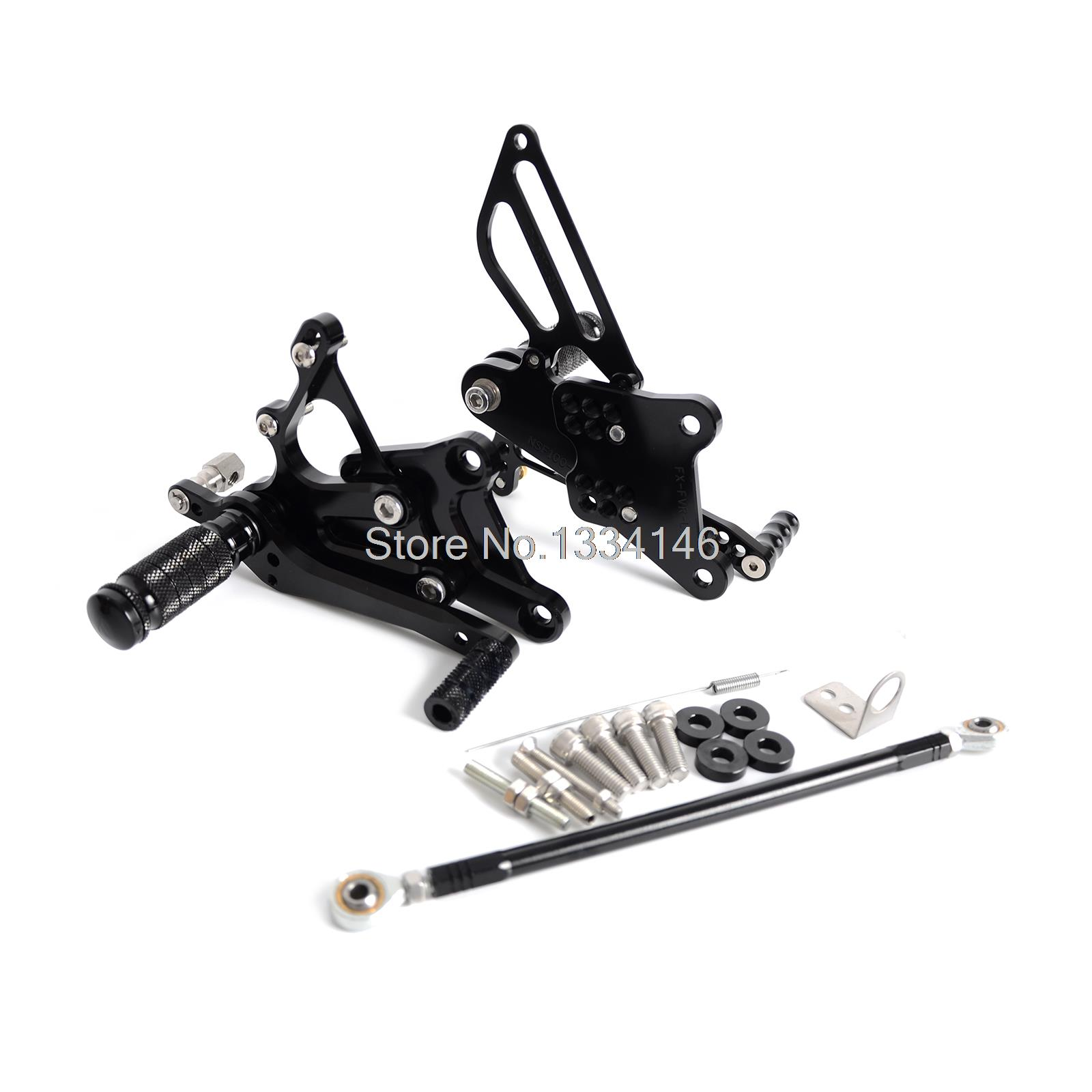 CNC Billet Racing Adjustable Foot Pegs Rear Sets For Honda VFR400 NC30 RVF400 NC35 Black