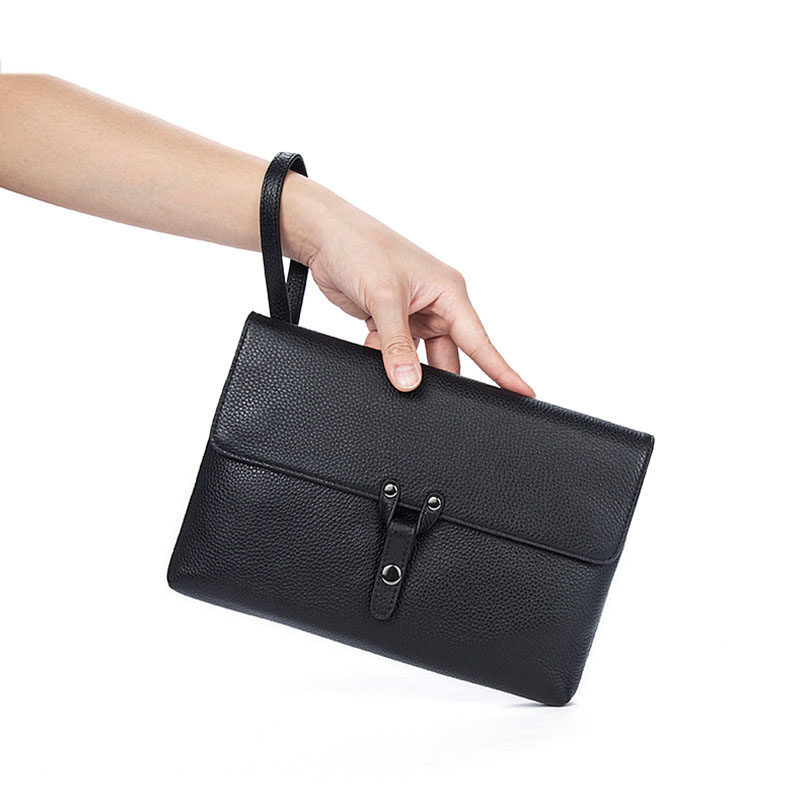 Factory Outlet Genuine Leather Men's Hand Bag Fashion Trendy Envelope Style Business Large Capacity Clutch Men's Clutch bags trendy women s clutch with envelope and twist lock design