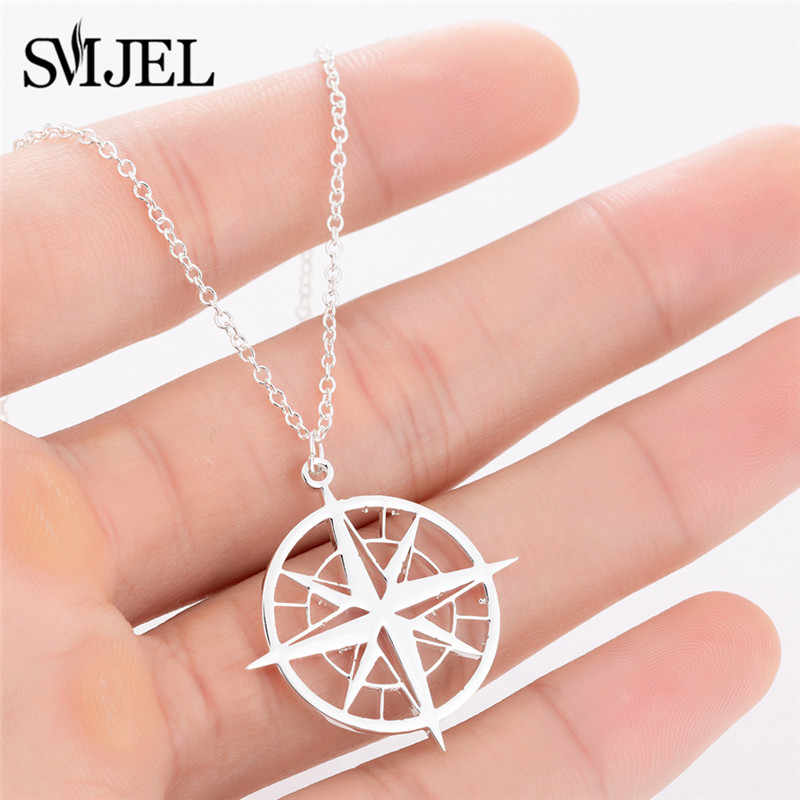 SMJEL Compass Necklace Men Antique Circle Pendants & Necklaces Women Sliver Stainless Steel Compass Jewelry