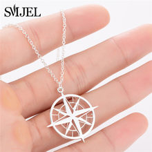 SMJEL Compass Necklace Men Antique Circle Pendants & Necklaces Women Sliver Stainless Steel Compass Jewelry(China)