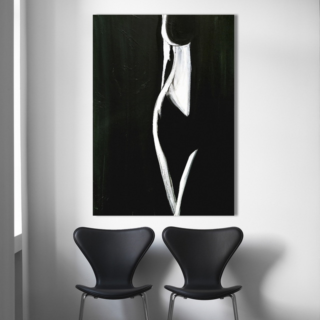 Hd Wall Art Pictures For Living Room Home Decor Modern Painting Female Form Black White Canvas No Frame