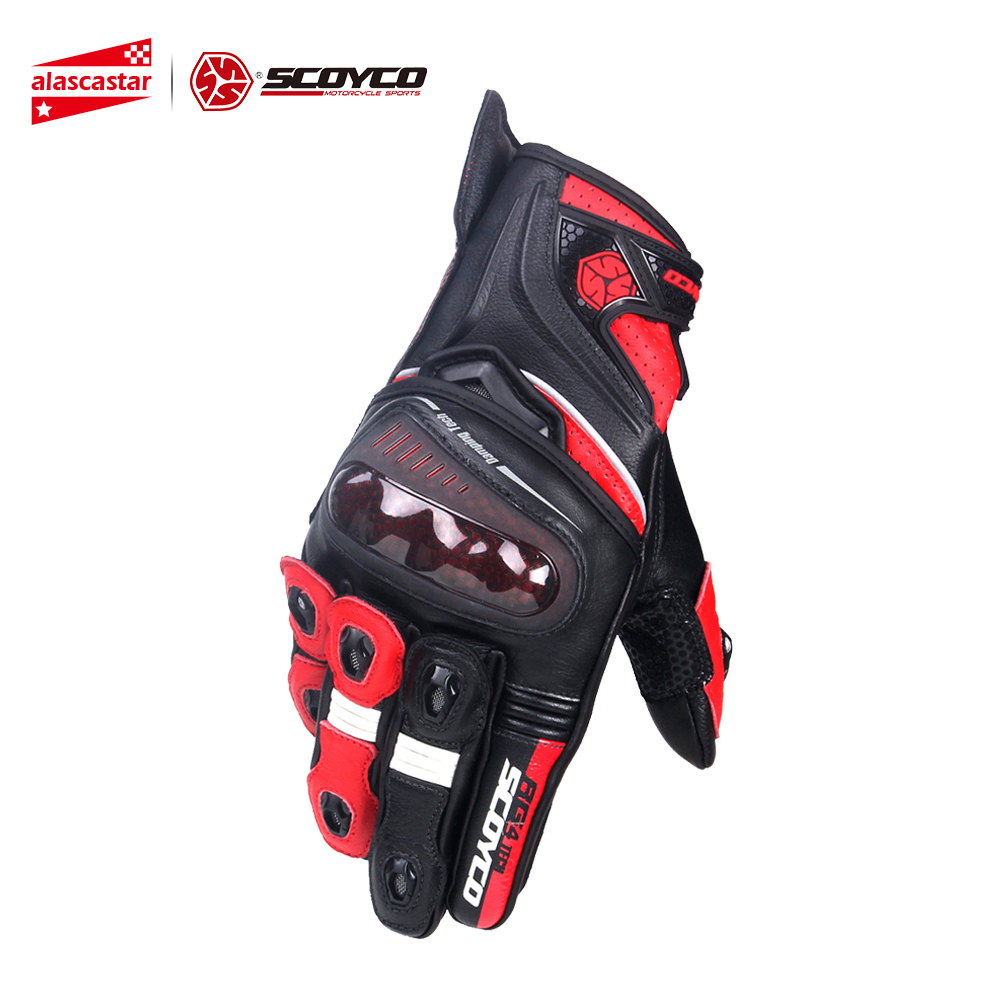 SCOYCO Motorcycle Gloves Microfiber Leather Riding Gloves Motocross Full Finger Racing Guantes Moto Gloves Protective Gear scoyco a012 xl sporty full finger motorcycle gloves black red pair size xl