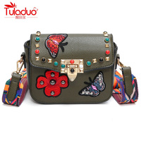 National Vintage Floral Embroidered Women Crossbody Bags High Quality PU Leather Women Shoulder Bags Color Strap