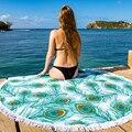 Mandala ronda borla franja de playa alfombra de picnic yoga estera de tabla del poliester tela