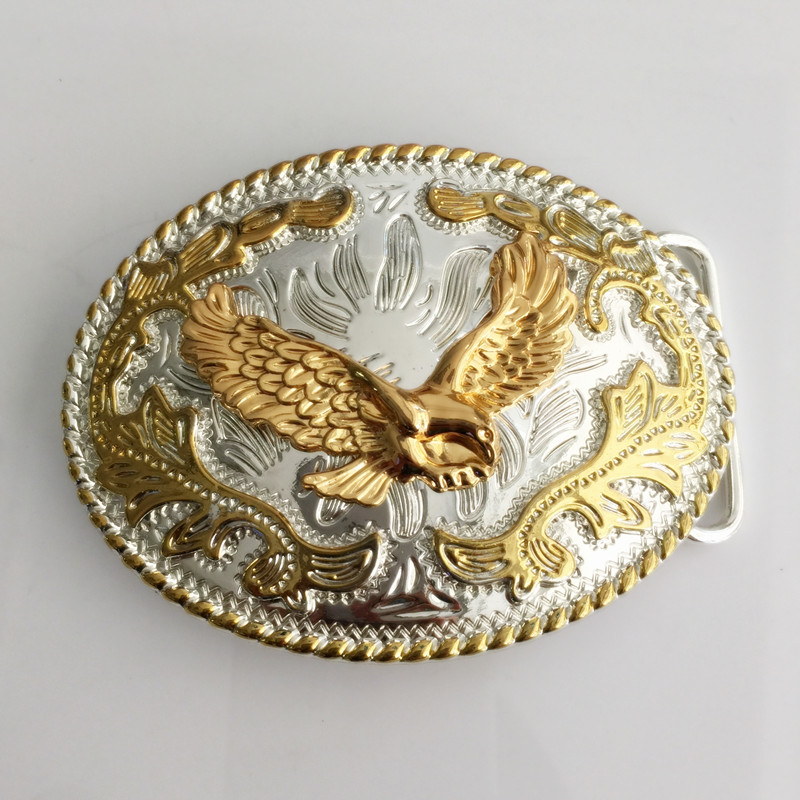 Retail New Oval Lace gold Eagle cowboys belt buckle with metal belt head woman man Jeans Jewelry accessories Fit 4cm Wide Belt