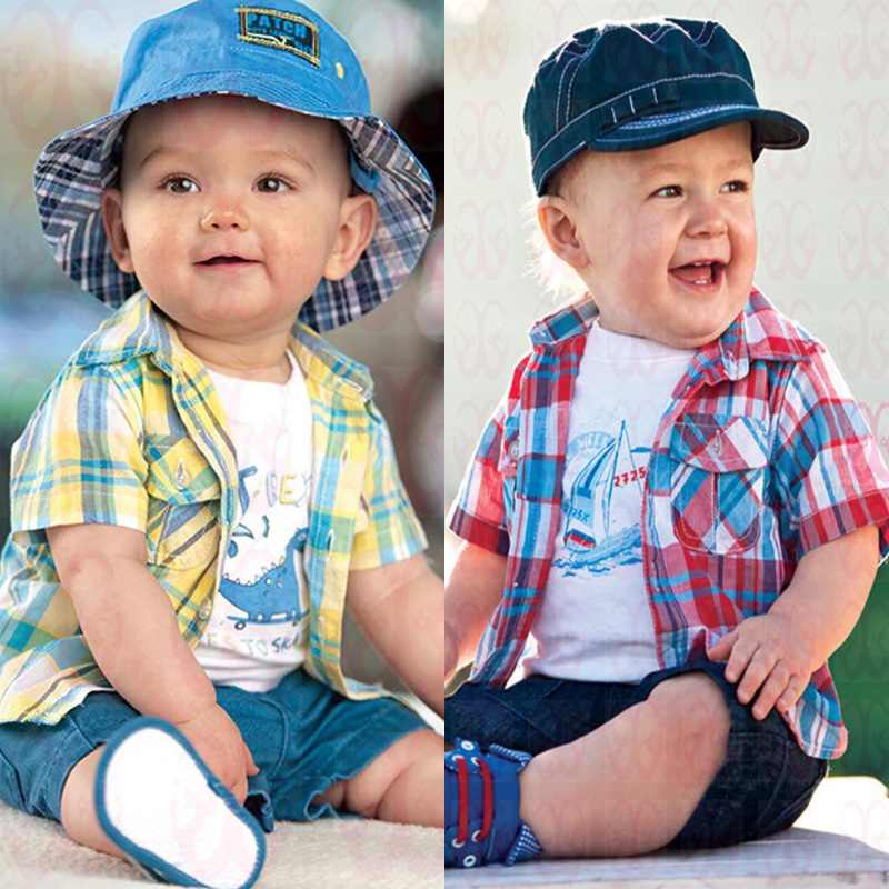 New 2017  Summer Boys Clothing Sets Casual Kids Clothes Sets  Cotton Plaid shirt + T-shirt + shorts Suits Children clothing