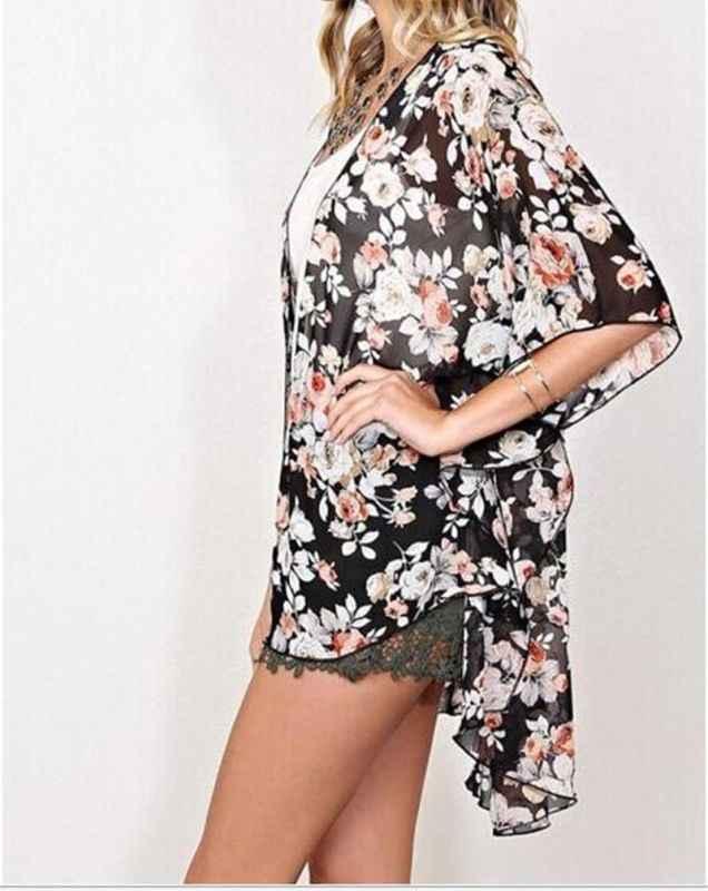 S-XL Phụ Nữ Bìa Up Bikini Top Boho Hoa Dài Dress Kimono Cardigan Dài Coats Phụ Nữ Thường Dài Áo Khoác Không Tay