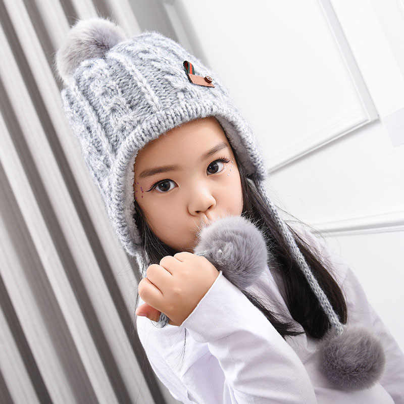 320123c32d3 Winter Baby Hats Fur Pompom Ball Hat Thick Warm Knitted Boy Girl Cap Cotton  Protect The