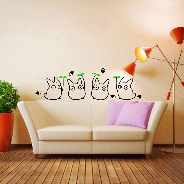 Japanese Cartoon Animation Vinyl Wall Sticker Totoro Decals For Childrens Room Bathroom Decoration Cute Stickers