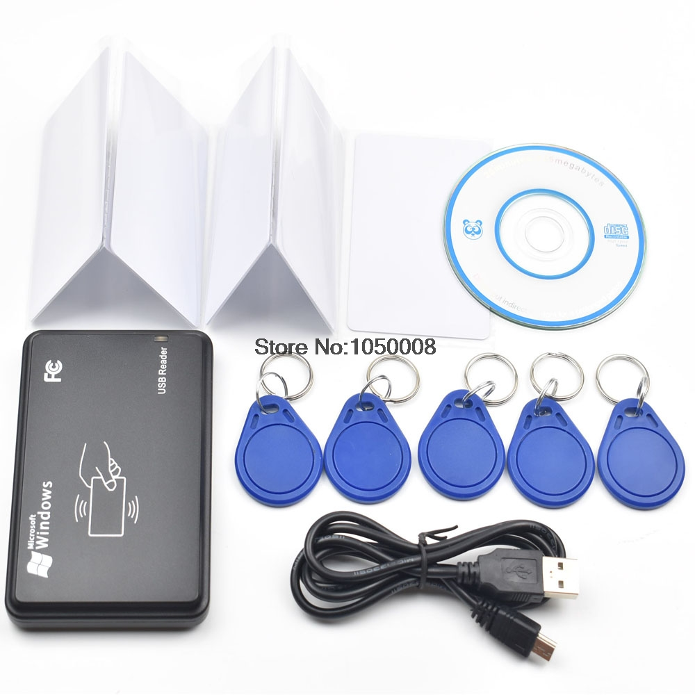 125KHZ RFID ID EM Card Reader & Writer&Copier / Duplicater For Access Control  +5pcs EM4305 Keyfobs Tags+5pcs Em4305 Card