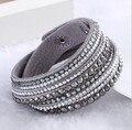 Женщины девушке подарок утолить ручной кожаный браслет шику кристалл обруча ювелирных изделий