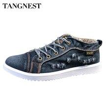 Tangnest Hombre Pisos Roto Agujero Denim Casual Hombres Zapatos Clásicos Zapatos de Lona de La Vendimia Hombres de Moda Lace Up Summer Alta zapato XMF518